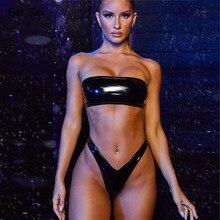 2020 New Women Split Bikini Offset Backless Sexy Biquini Swimsuit Ladies Fashion Low Waist Tube Top Beach Shiny Swimsuit Set