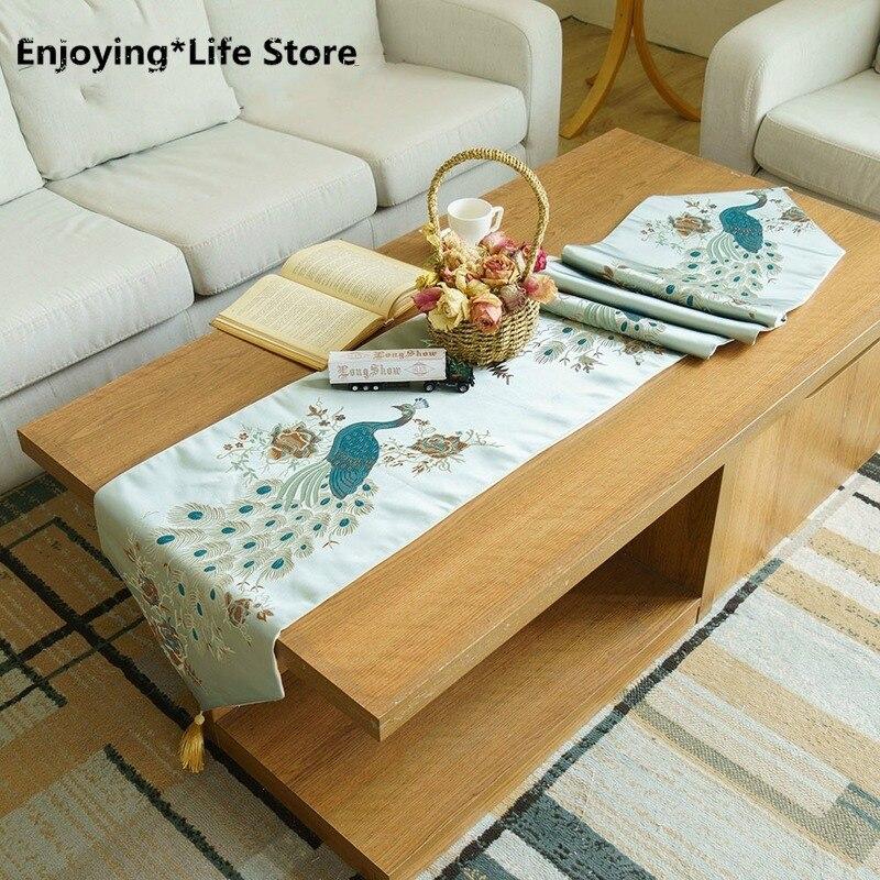 مفرش طاولة من الساتان والحرير ، فاخر ، راقي ، طاووس ، مطرز ، غطاء طاولة ، ديكور منزلي