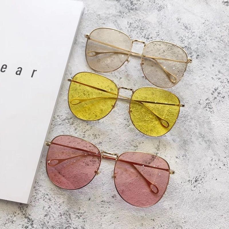 OLOEY Oval Sunglasses Women Simple Trendy Fashion Metal Ocean Water Lens Eyewear Brand Designer Men Driving Oversized UV400Gafas