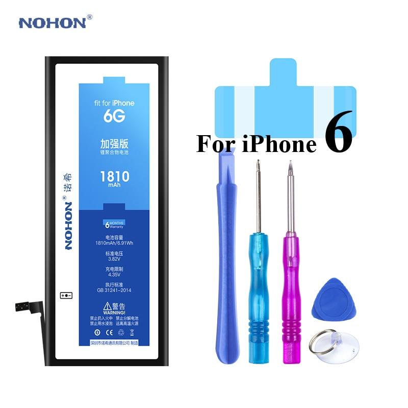 Batería Nohon para iPhone 6 6G i6 Apple iPhone6 alta capacidad Real li-polímero Bateria 1810 mAh + herramientas para Apple iPhone 6 baterías