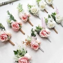 LKY Fr flores de Boutonniere alfileres de ramillete de boda blanco rosa novio ojal hombres boda testigo accesorios de matrimonio