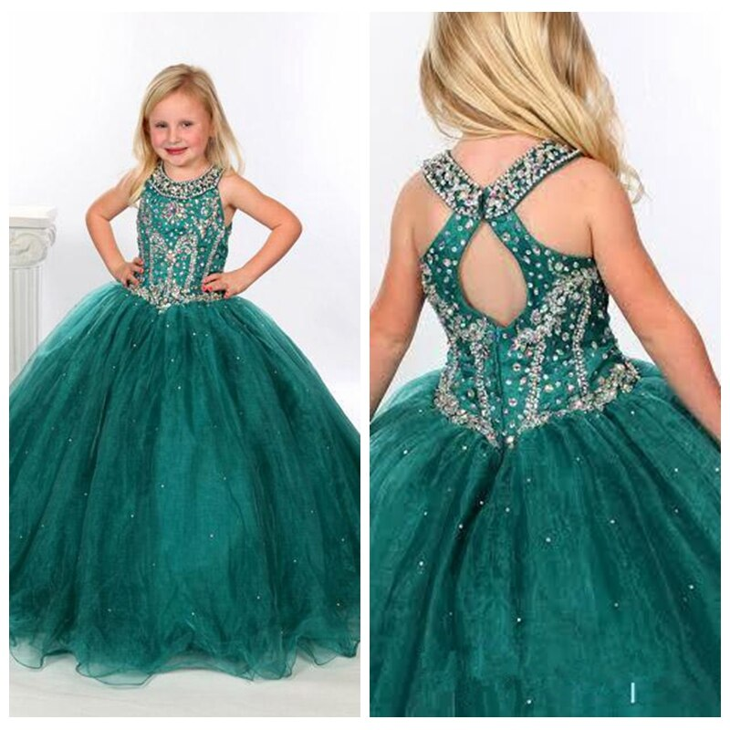 Spaghetti Strap Crystal Beading Princess Girls Pageant Ball Gowns Flower Girls Ball Gowns Green Beading  Birthday Dress Custom