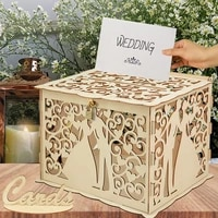 diy wedding wooden box hollow floral mrmrs pattern wedding sign envelope money gift greeting card box with lock party supplies