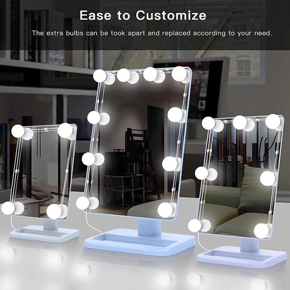 Kit de bombillas LED para espejo de maquillaje, puerto de carga USB, cosmético iluminado, Bombilla de Espejos de maquillaje, luces de brillo ajustables