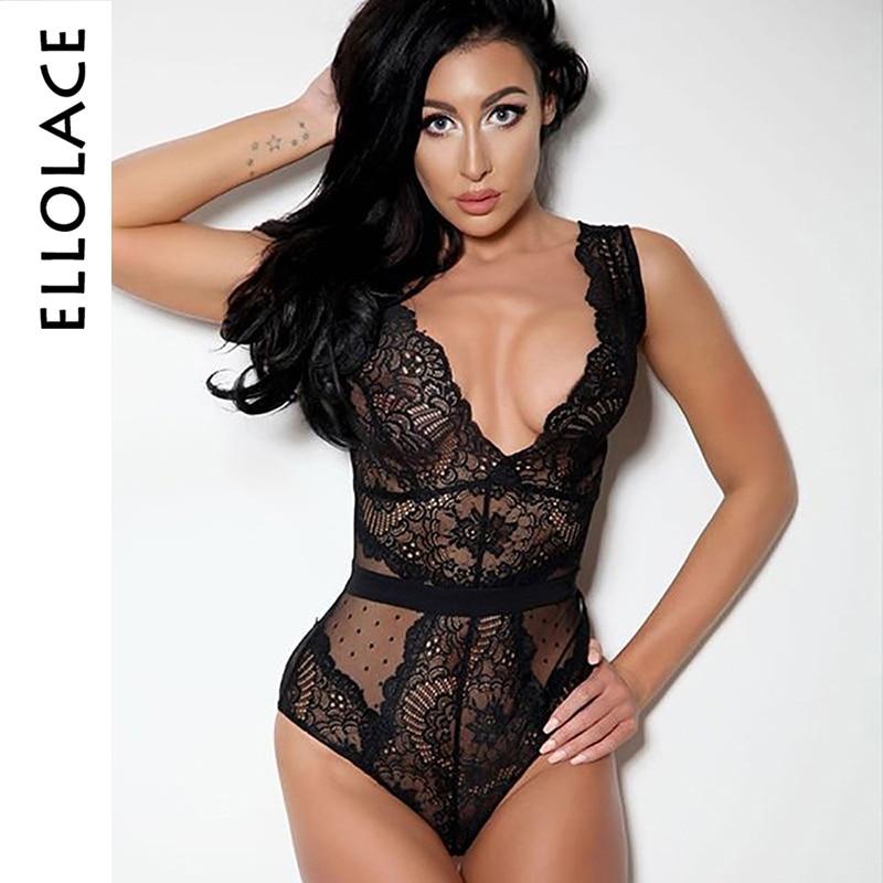 Ellolace Summer Lace Bodysuit Women Embroidery Transparent Deep V Neck Sexy Bodys Dot Bodycon Mesh Top Sleeveless Femlae Body