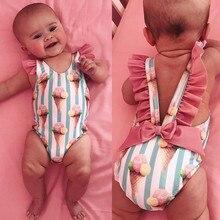 Baby Girls One-Piece Swimsuit Summer 2020 Toddler Kids Girls Ruffle Stripe ice cream Bikini Beach Summer Swimsuit Swimwear A42