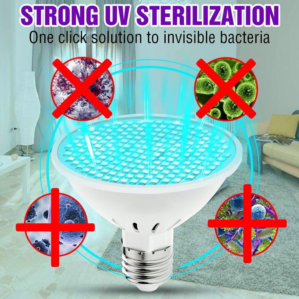 Lámpara esterilizadora LED E27 UVC, 50W, 35W, 25W, Esterilizador UV, 220V, bombilla...