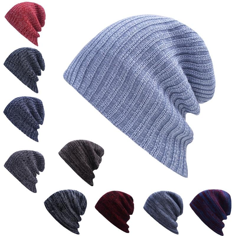 Термальная стильная вязаная шапка с черепом, шикарная тонкая мешковатая Шапка-бини в полоску, теплые чулки, шапки для парней, женские зимние...