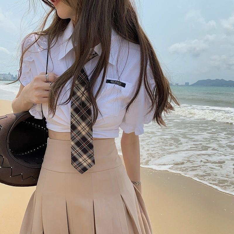 Jk colégio estilo saia terno doce e legal saia plissada 2021 novo verão, sal, doce, pequeno, fresco e redução de duas idades.