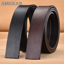 Cowhide Leather Belt No Buckle for Men's Automatic Buckle Belt Without Buckle Fashion Genuine Leathe