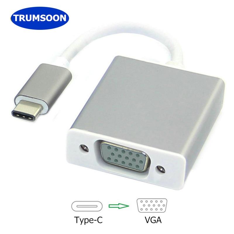 Trumsoon tipo C a VGA USB C USB 3,0 Adaptador convertidor 1080P para Macbook Chromebook Samsung S10 Dex Huawei P30 proyector de la TV