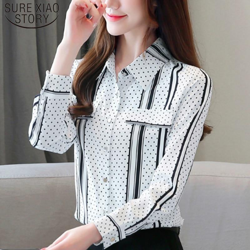 2019 nueva moda negro de talla grande blusa de Mujer a rayas camisa OL manga larga Cardigan Polka Dot blusa Mujer Blusas 6625 50