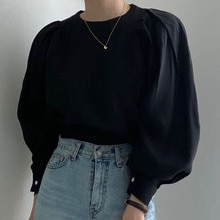Blouse 2021 Women New Round Neck Puff Sleeve Solid Color Autumn Japanese Style Korean Fashion Casual