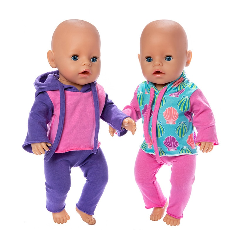 2021 Hot Sale Baby New Born Doll Clothes Accessories Fit 18 inch 43cm Hat One-piece Sweater Suit  Fo