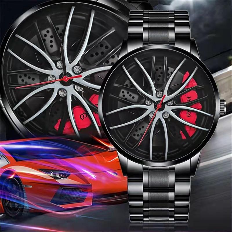 Новинка 2021, мужские часы для спортивного автомобиля, мужские часы, Кварцевые водонепроницаемые спортивные наручные часы с колесами ступицы...