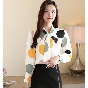 Women Blouse Shirt Long Sleeve 2020 Fashion Women Tops Chiffon Polka Dot Print Shirt Womens Tops and Blouses