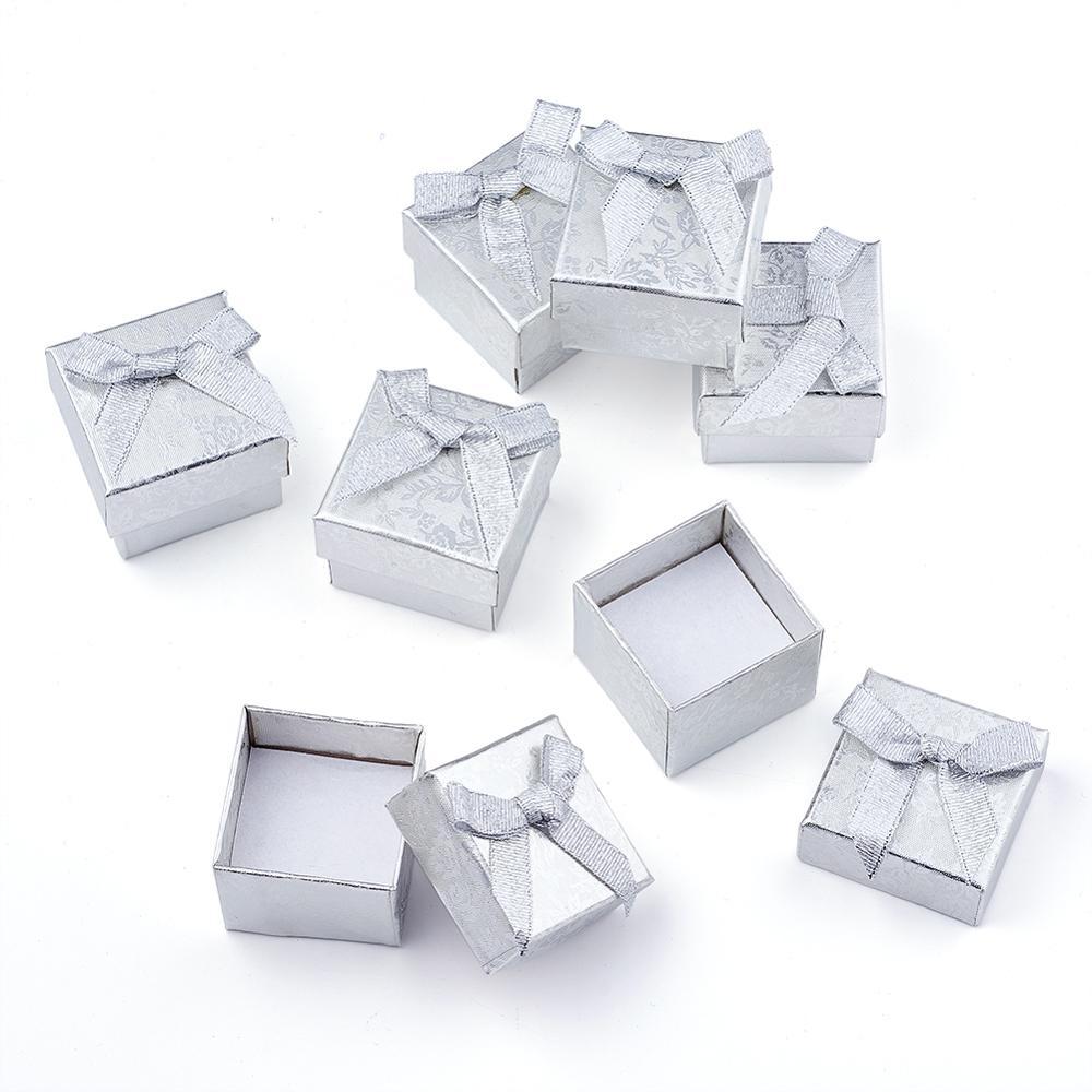 Коробки для ювелирных колец с бантом, 24 шт., квадратные картонные упаковочные коробки с губкой для подарков на день Святого Валентина, разны...