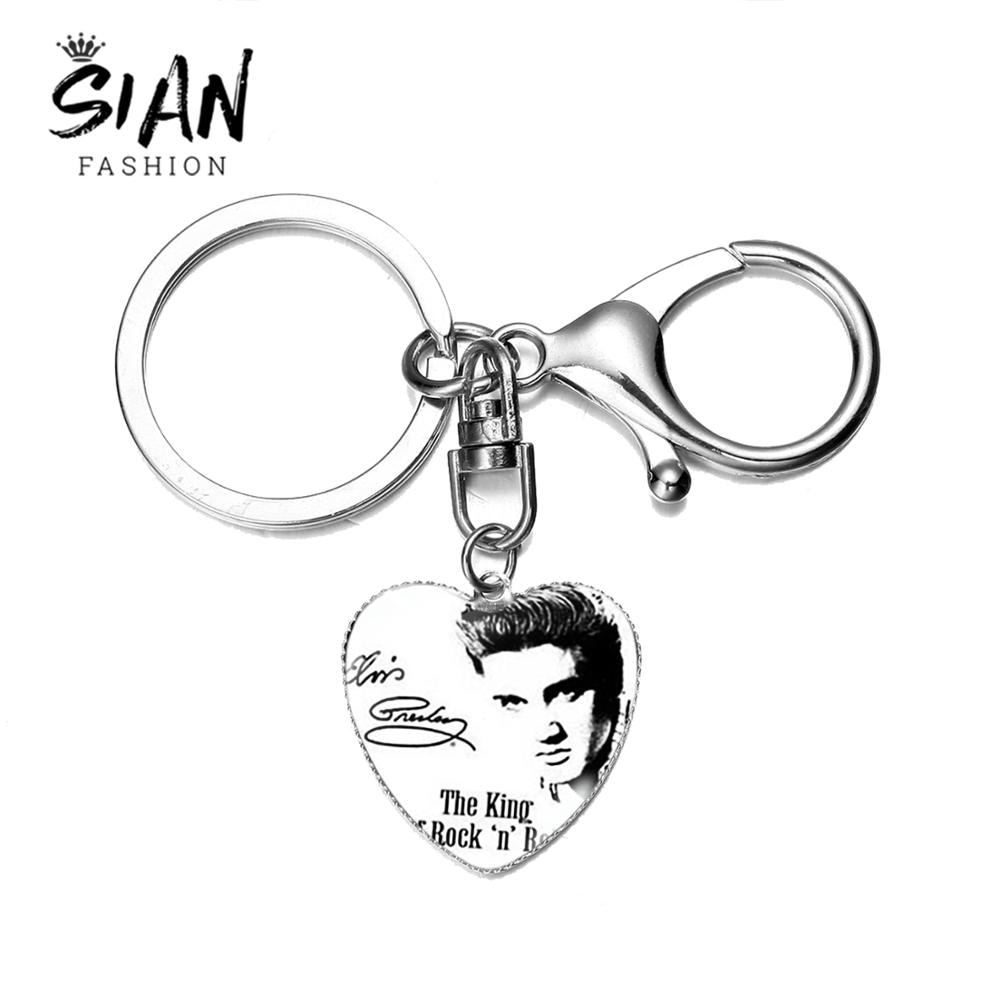 SIAN classique Elvis Presley chanteur coeur porte-clés le roi de la musique Rock mode lettre impression verre dôme porte-clés pour les Fans cadeaux
