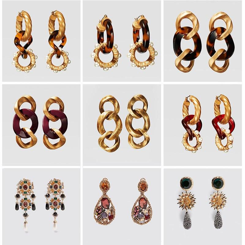 Женские леопардовые серьги Girlgo, золотистые металлические серьги-капельки из смолы, ограниченный выпуск, 2019