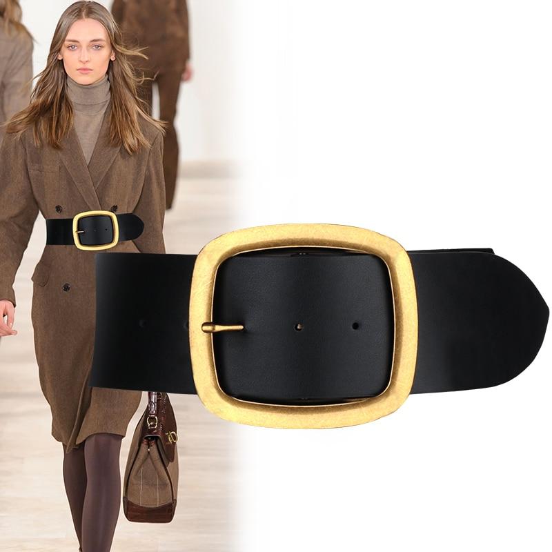HOT Genuine Leather vintage Big Metal Buckle Wide Belt Personality Women New Fashion Tide All match cowskin strap belts for jean