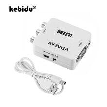 Convertisseur vidéo kebidu Mini HD AV RCA CVBS vers VGA avec convertisseur Audio vers PC HDTV 3.5mm adaptateur convertisseur vidéo AV2VGA