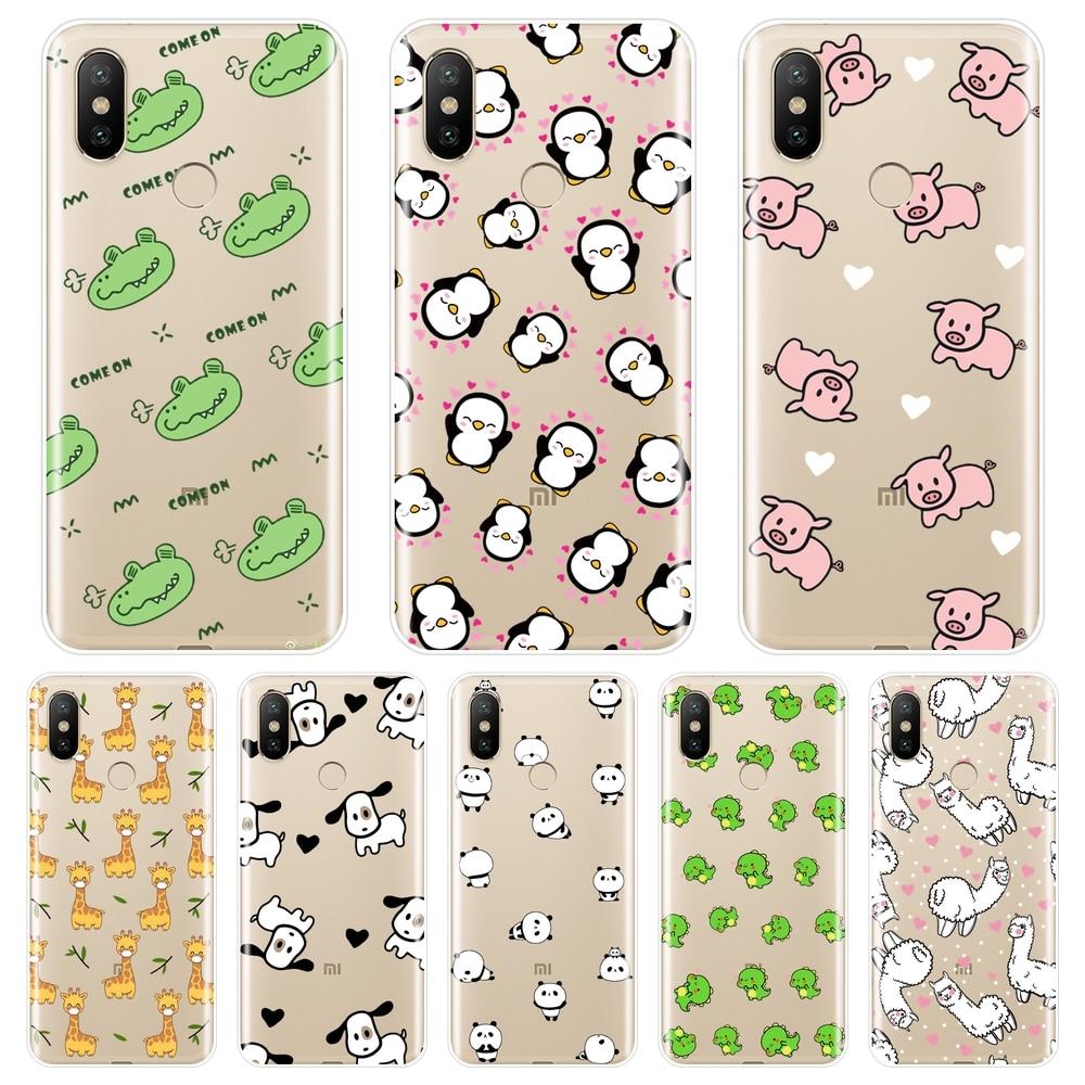 Pink Pig Dog Panda Dinosaur Phone Case For Xiaomi Mi 5 5C 5S 5X 6 6X Plus Soft Silicone Back Cover For Xiaomi Mi A1 A2 Lite 8 SE
