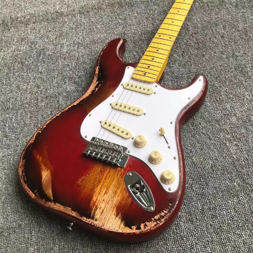 antique made old electric guitar, red, real photos, free shipping, sunset set, red, maple fingerboard enlarge