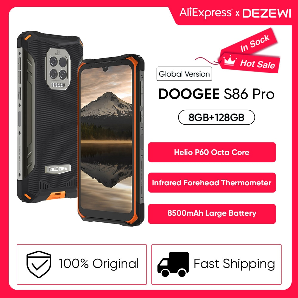 DOOGEE S86 Pro 8500mAh Super Battery 8GB 128GB ROM Infrared Forehead Thermometer Smartphone Helio P60 Octa Core 24W Fast Charge