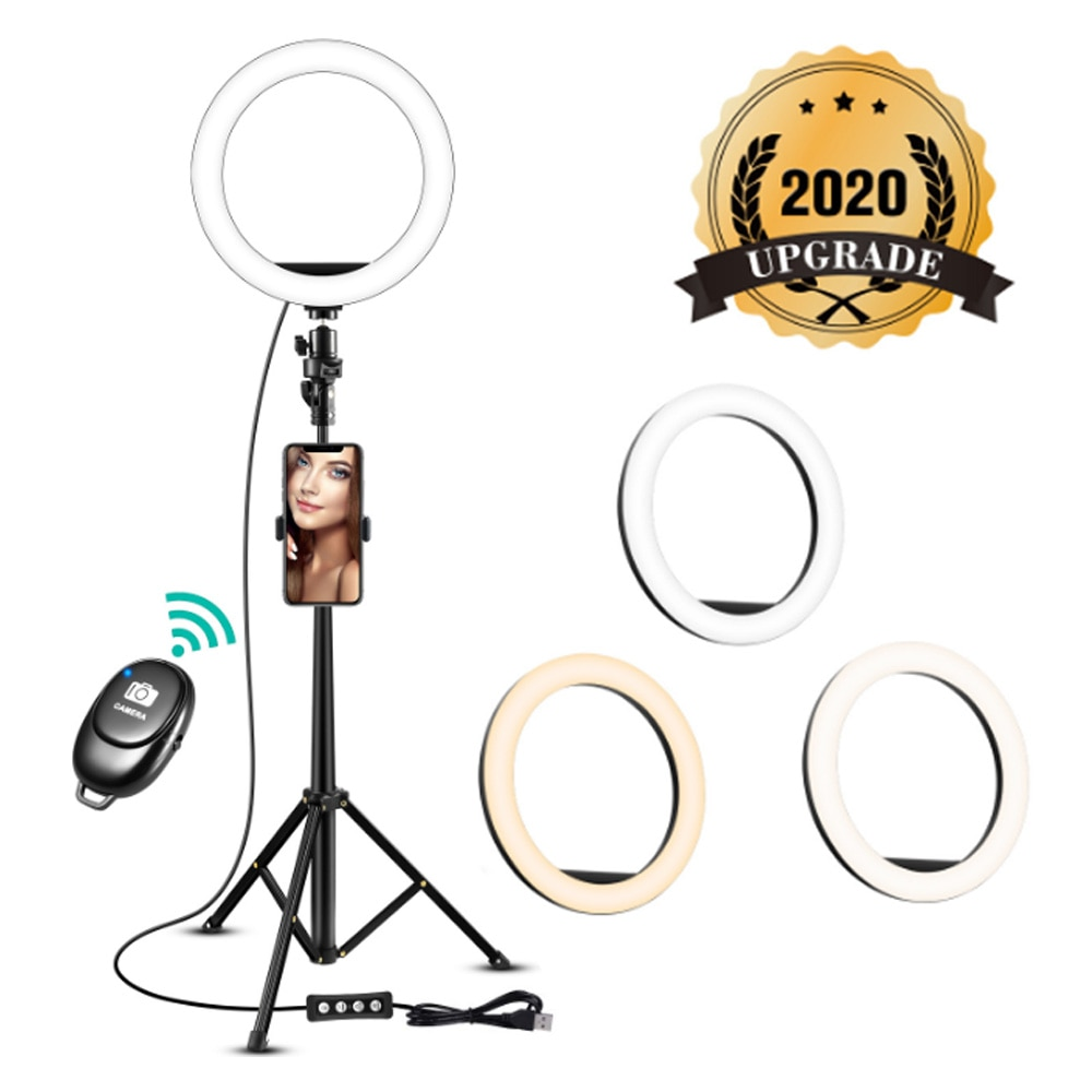Anillo de luz de Selfie de 8 pulgadas con soporte de trípode para vídeo Tik Tok Youtube, soporte de maquillaje en línea, soporte para cámara, Clip para teléfono, estudio