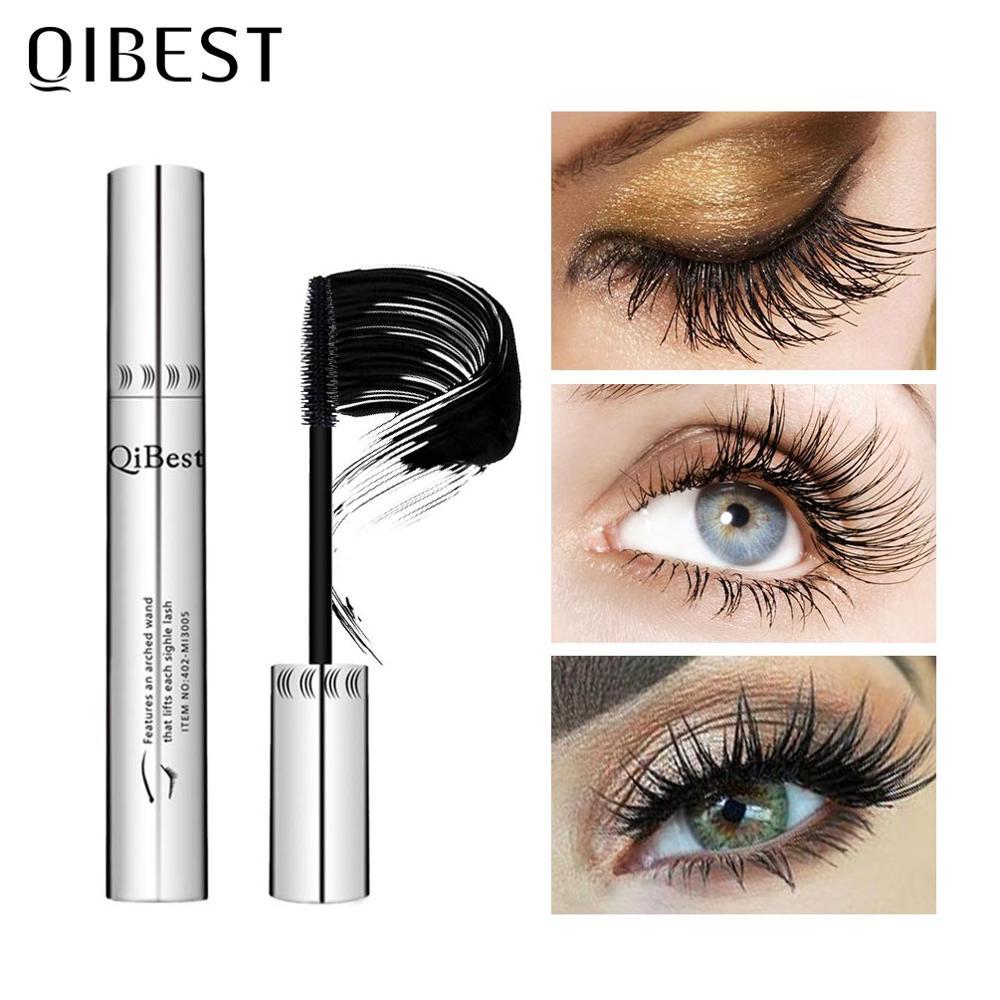 good muscle mascara QIBEST Eyelash Makeup Black Mascara 4D Curling Thick Mascara Eye lashes Mascara Waterproof Mascara Lengthening Eyes Cosmetics