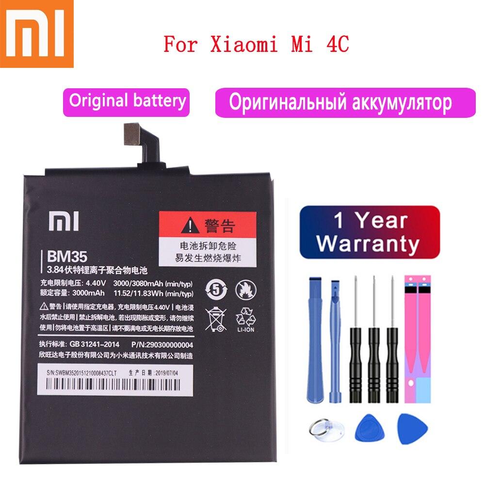 100% Original Xiaomi Mi 4C Telefon Batterie 3080mAh Für Xiaomi Mi 4C Mi4c Telefon Batterien + Werkzeuge