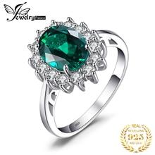 Bijoux princesse Diana simulé bague émeraude 925 en argent Sterling anneaux pour les femmes bague de fiançailles en argent 925 pierres précieuses bijoux
