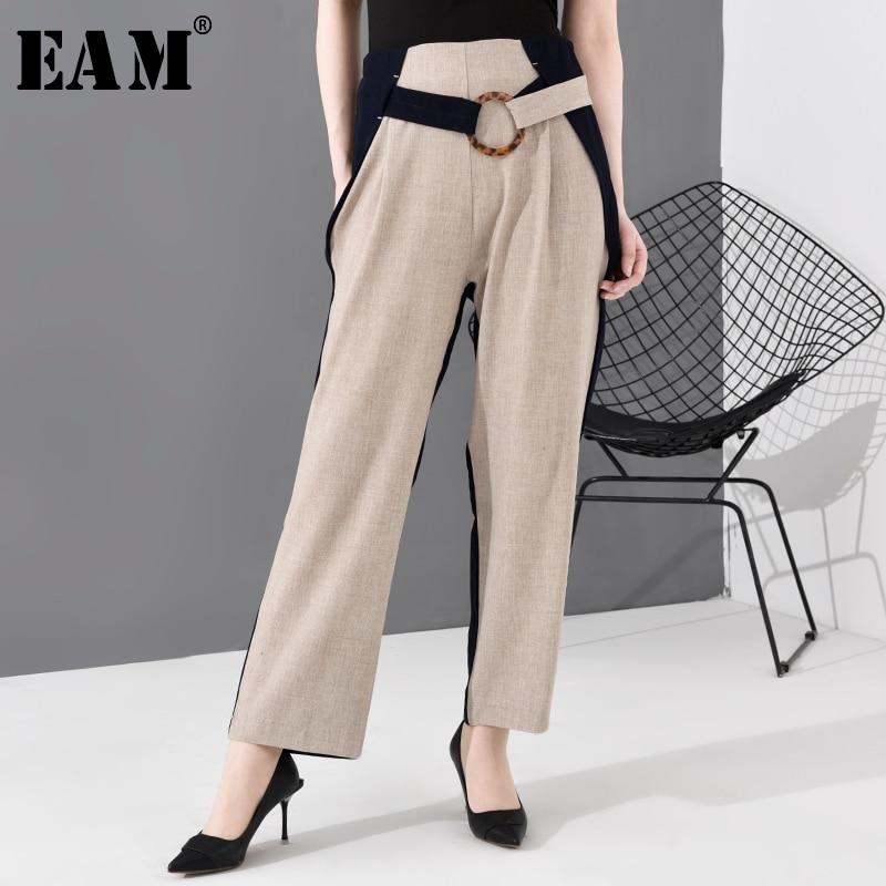 EAM-بنطلون نسائي بخصر عالٍ ، بنطلون واسع الساق ، لون المشمش ، عصري ، ربيع خريف 2021 ، JO374