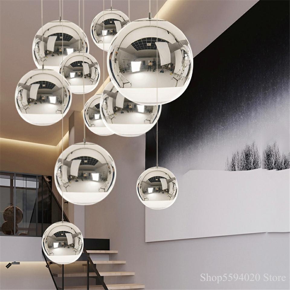 Серебряный стеклянный шар Lustre подвесной светильник s Лофт современный светодиодный подвесной светильник ing Bar промышленный светильник ing по...