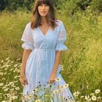 high quality cutout white cotton dress women 2021 designer v neck short sleeve front split embroidery lace loose long dress