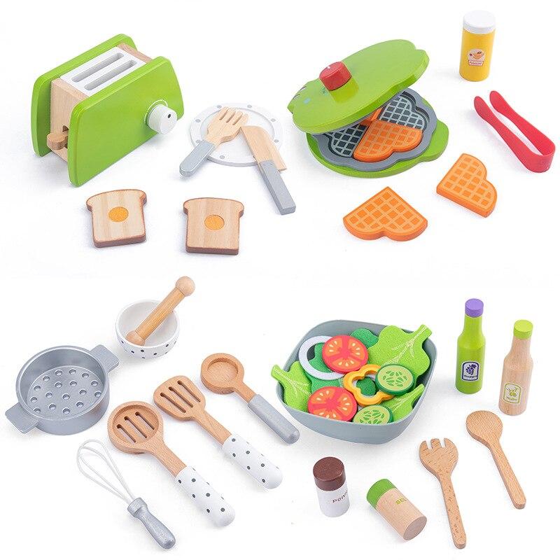 Детская кухня, игрушки для ролевых игр, кухонная посуда, деревянный кухонный набор для малышей, игровые кухонные аксессуары, кухонная утвар...
