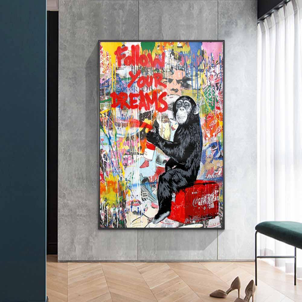 Pósteres e impresiones artísticos en lienzo con diseño de grafiti para pared de monos e impresiones artísticos de animales para decoración de habitación de niños