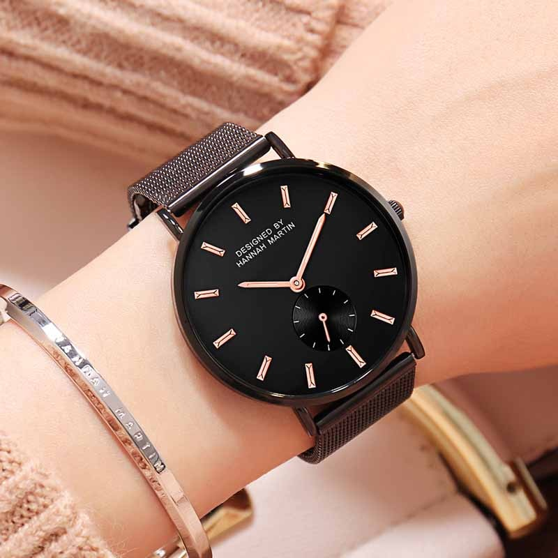 Hannah Martin Women Quartz Watch Life Waterproof Watch Fashion Luxury Brand Wristwatch Women Clock Ladies Watches Reloj Mujer enlarge