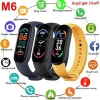 my m6 band 6 smartband men women wristband fit watch heart rate blood pressure watch sports bracelet pedometer smartwatch androi