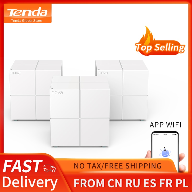 Tenda MW6 Whole Home Mesh Wireless WiFi System with 11AC 2.4G/5.0GHz WiFi Wireless Router and Repeater, APP Remote Manage