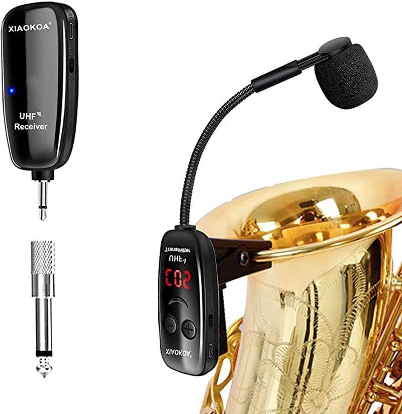 XIAOKOA UHF اللاسلكية الساكسفون ميكروفون نظام كليب على الآلات الموسيقية اللاسلكية استقبال الارسال ل الساكسفون البوق