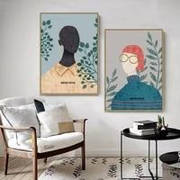 Affiches et imprimes de style nordique moderne  Simple  en Vogue  fleur fille  toile  peinture artistique  images murales pour salon  decoration de la maison