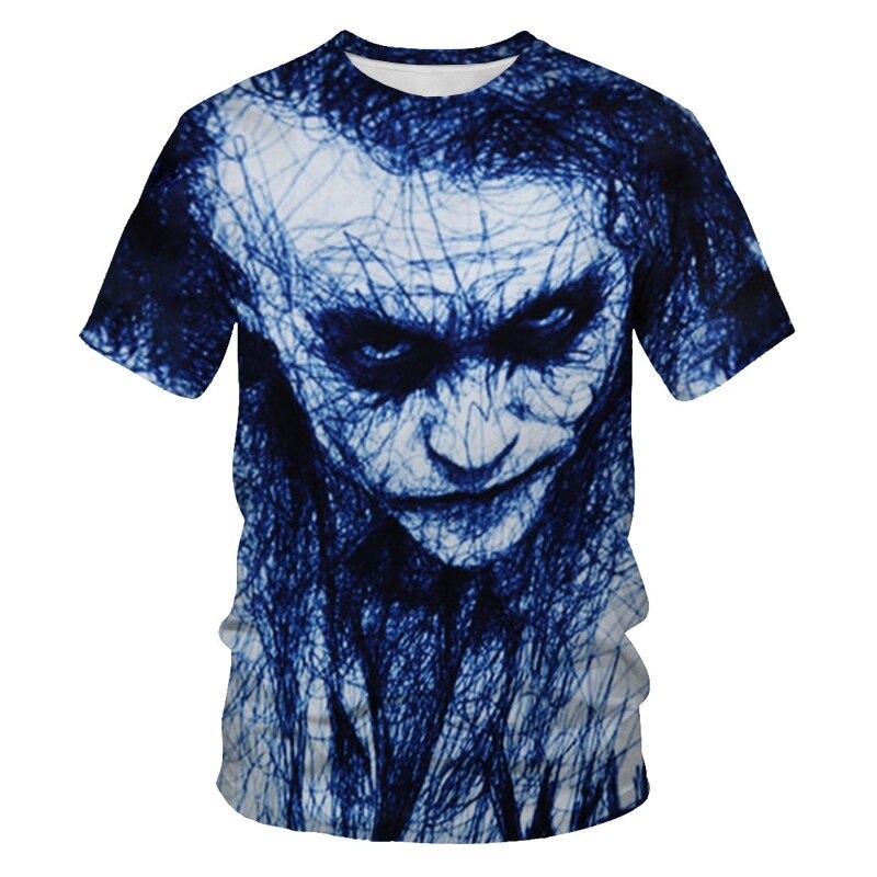 2021 new mens short-sleeved T-shirt 3D printing bat clown daily fashion casual size XXS-6XL
