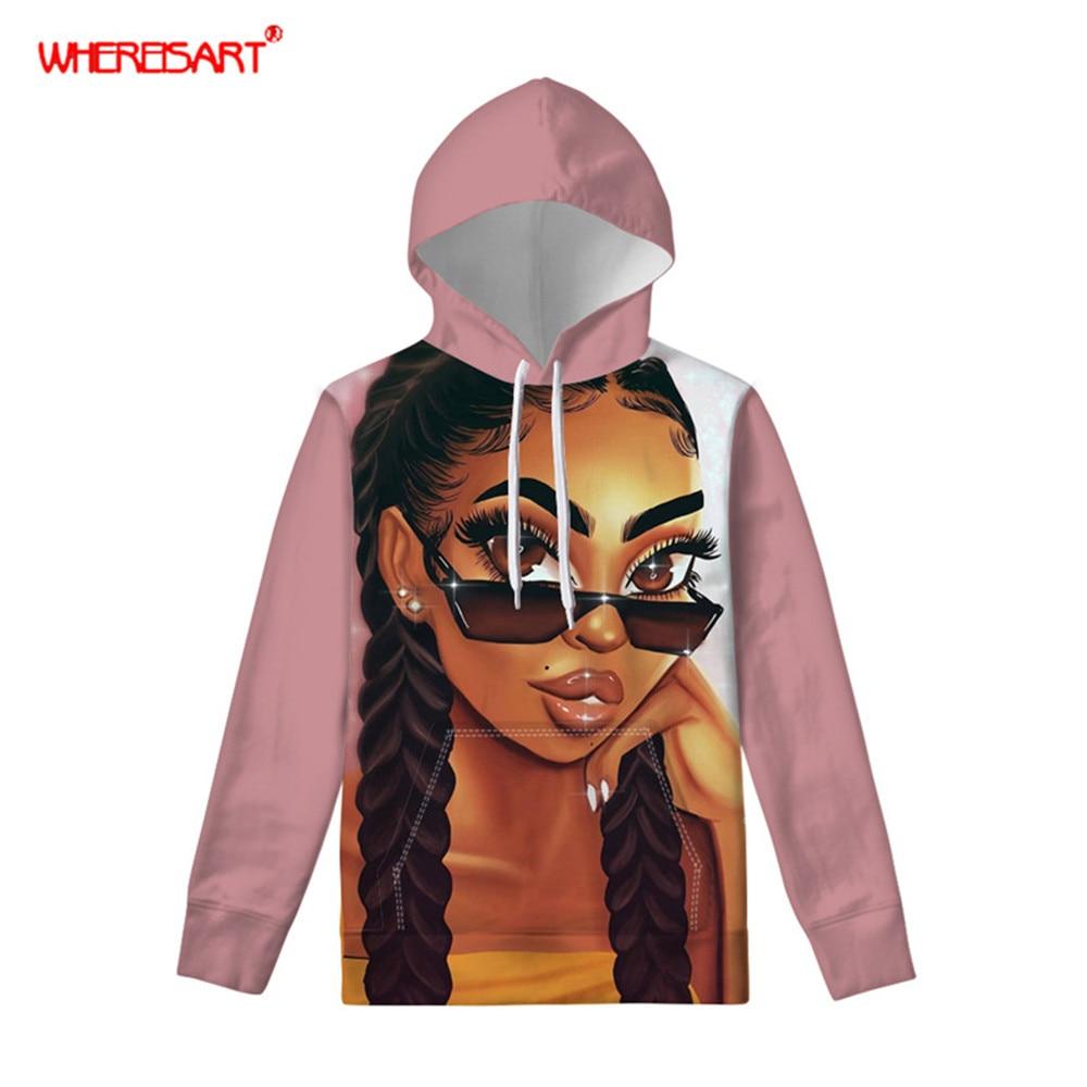 Sudaderas con capucha WHEREISART para mujer, otoño 2019, Reina negra, Sudadera con capucha africana, jersey de manga larga de bolsillo, sudadera con motivos Pastel, ropa para chicas