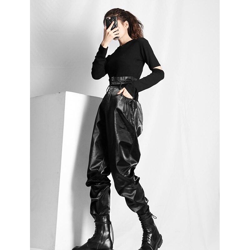 Super long New high-waist Korean ins harem pants pleated black pants female feet radish pants leather pants women trousers F934
