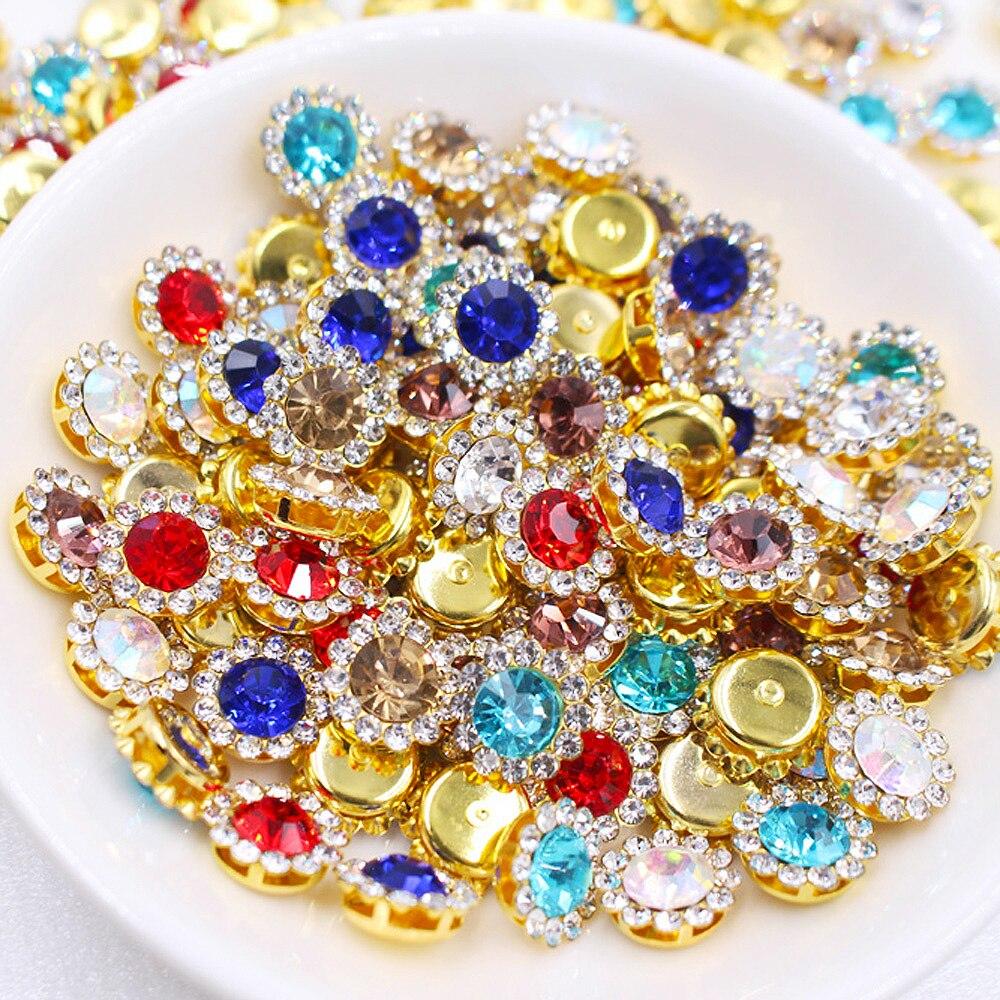 Taza de garra, diamantes de imitación, Strass, 10mm, cristales brillantes de colores mezclados, piedras de cristal, Base dorada, sin fijación en caliente, diamantes de imitación para la ropa