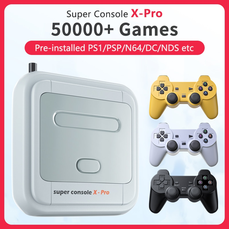Super Console X Pro Retro Video Game Consoles TV Box Games For PSP/PS1/N64/DC HD WiFi Output Dual System Built-in 50000+ Games