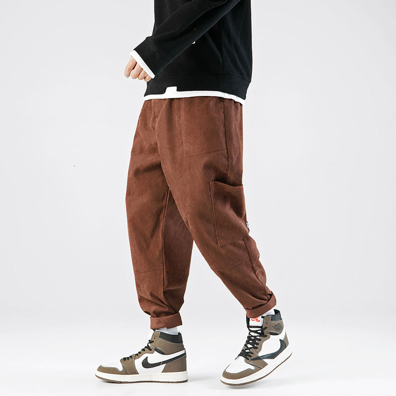casual pants corduroy straight pants loose plus size cargo pants with pockets streetwear  M-5XL zipper fly pockets embellished plus size cargo pants