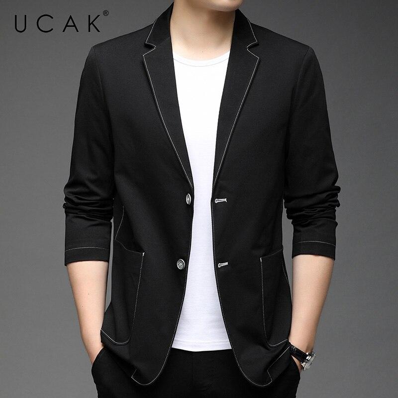UCAK Brand New Arrival Spring Autumn Streetwear Men Blazer Clothing Casual Solid Color Single Breasted Blzaer Jacket U8257
