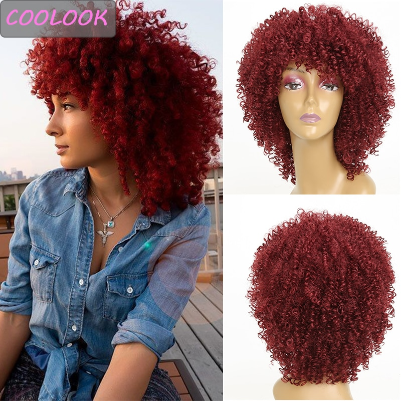 Short Kinky Curly Women's Wigs with Bangs 15'' Fluffy Afro Kinky Curly Red Wig Synthetic Natural Curls Pink Wigs Peruca Cosplay